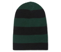 Striped ribbed cashmere beanie
