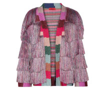 Fringed metallic knitted jacket
