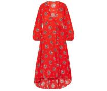 Woman Kochhar Floral-print Silk Crepe De Chine Maxi Wrap Dress Red