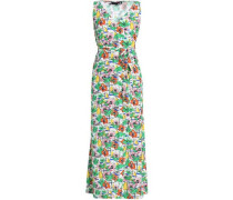 Wrap-effect Printed Crepe Maxi Dress Off-white