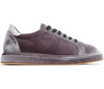 Patent leather-trimmed velvet sneakers