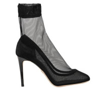 Leather-trimmed Stretch-tulle Sock Boots Black