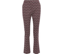 Jacquard-knit Straight-leg Pants Grape