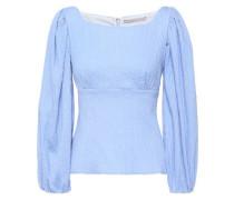 Woman Vella Gathered Cotton-blend Seersucker Top Light Blue