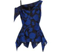 Bingley Cutout Fil Coupé Cotton And Silk-blend Gauze Top Bright Blue