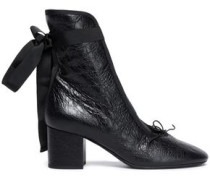 Cracked-leather Ankle Boots Black