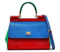 Color-block Textured-leather Shoulder Bag Cobalt Blue Size --