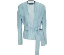 Belted Suede Jacket Sky Blue
