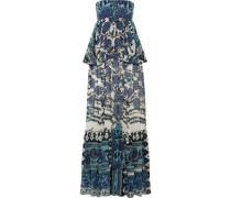 Layered floral-print silk-chiffon gown
