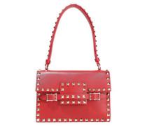 Rockstud Leather Shoulder Bag Red Size --