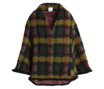 Checked brushed wool-blend cape