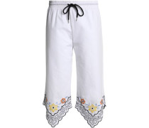 Cropped embroidered cotton-poplin wide-leg pants