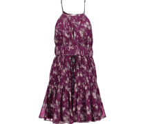 Lotus gathered floral-print silk-georgette mini dress