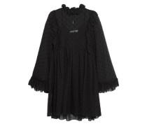Ruffle-trimmed flocked chiffon mini dress