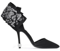 Embellished Satin Pumps Black
