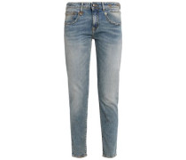 Distressed faded low-rise slim-leg jeans