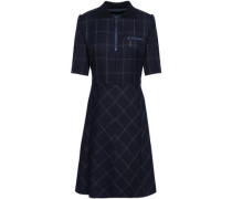 Checked Wool-blend Dress Navy