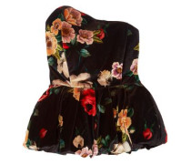 Strapless Floral-print Velvet Peplum Top Black