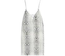 Snake-print crepe mini dress
