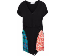 Printed satin-paneled crepe mini dress