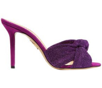 Woman Knotted Textured-lamé Mules Purple