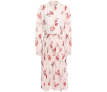 Woman Lace-trimmed Pleated Floral-print Silk-georgette Dress Pastel Pink
