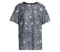 Printed metallic cotton-blend top