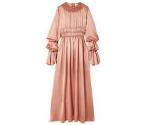 Zoya Ruched Silk-satin Maxi Dress Antique Rose