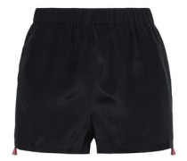 Embroidered Silk Crepe De Chine Shorts Black