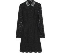 Convertible Cotton-blend Corded Lace Mini Dress Black
