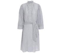 Ruffle-trimmed Striped Cotton-jacquard Dress