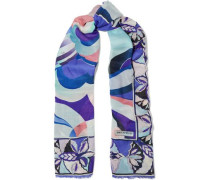 Woman Printed Wool And Silk-blend Scarf Indigo
