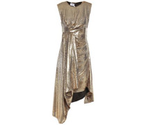 Woman Open-back Draped Sequined Woven Dress Gold