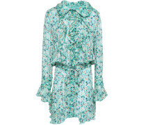 Ruffled Floral-print Silk-georgette Mini Dress Turquoise