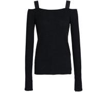 Cold-shoulder Ribbed Wool-blend Top Black
