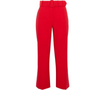 Belted cady kick-flare pants