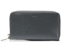 Metallic Textured-leather Wallet Army Green Size --