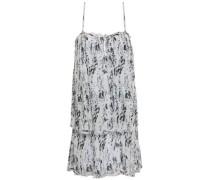 Layered Printed Cotton-gauze Mini Dress Black  /M