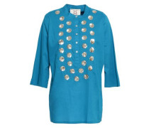 Sequin-embellished Cotton Tunic Azure
