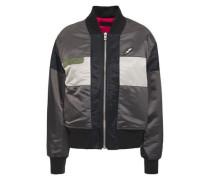 Riley Appliquéd Color-block Shell Bomber Jacket Dark Gray