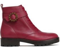 Ryder Embellished Leather Ankle Boots Plum