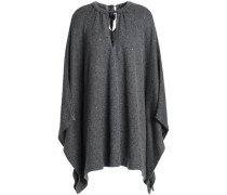 Embellished cashmere and silk-blend poncho