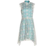 Asymmetric metallic lace turtleneck dress