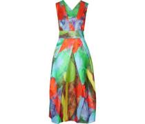 Elisa pleated printed cotton and silk-blend satin midi dress