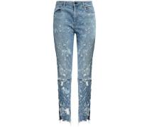 Distressed High-rise Slim-leg Jeans Mid Denim  8