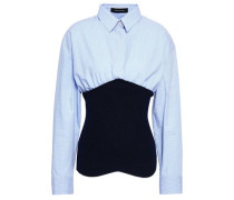 Paneled Cotton-poplin And Ribbed-knit Top Light Blue