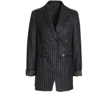 Embellished pinstriped wool blazer