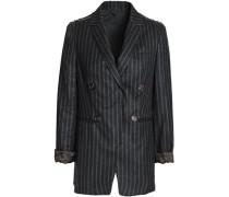 Bead-embellished striped wool blazer