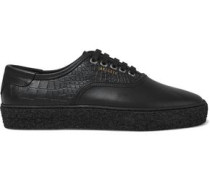 Croc-effect And Smooth Leather Sneakers Black