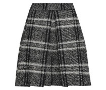 Checked Tweed Mini Skirt Dark Gray